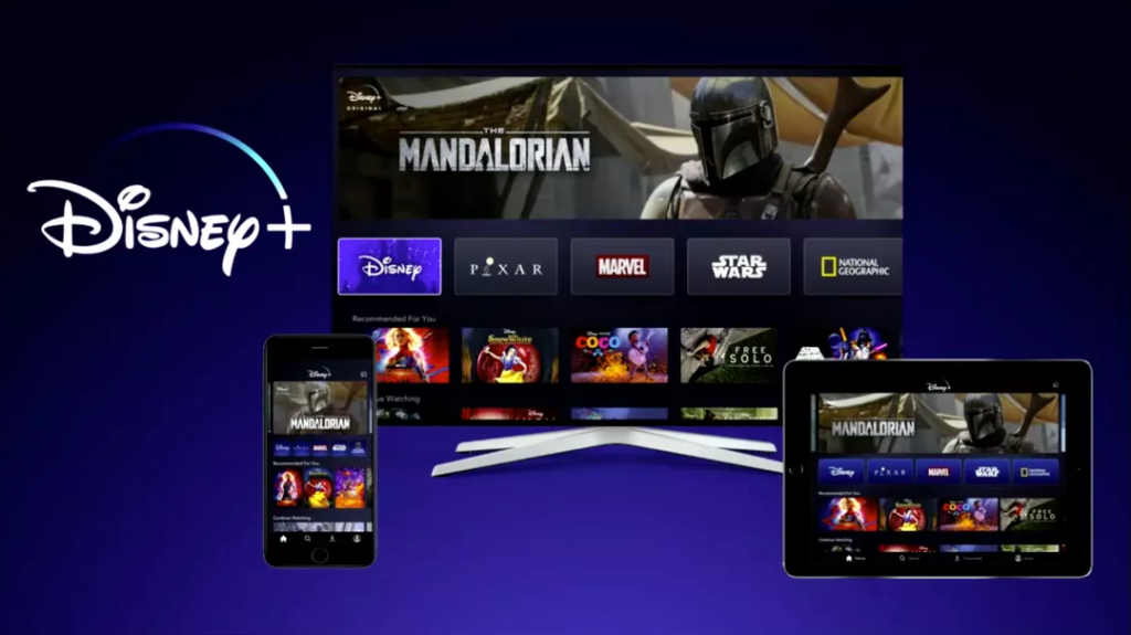 Image of devices to download Disney Plus