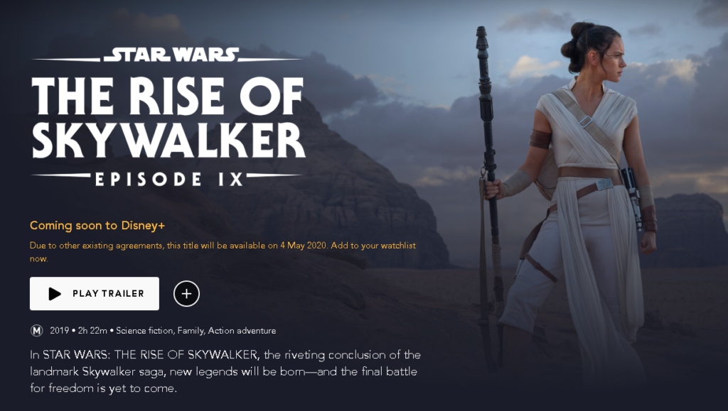 Star Wars: The Rise of Skywalker on Disney Plus Australia
