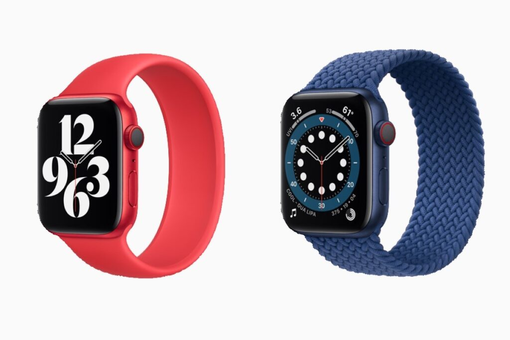 Apple Watch Series 6 Solo Loop Bands in red and blue