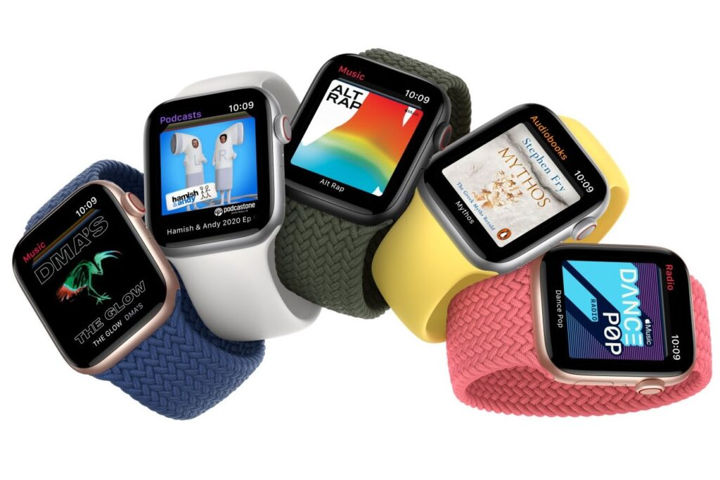 Apple Watch SE in five band colours