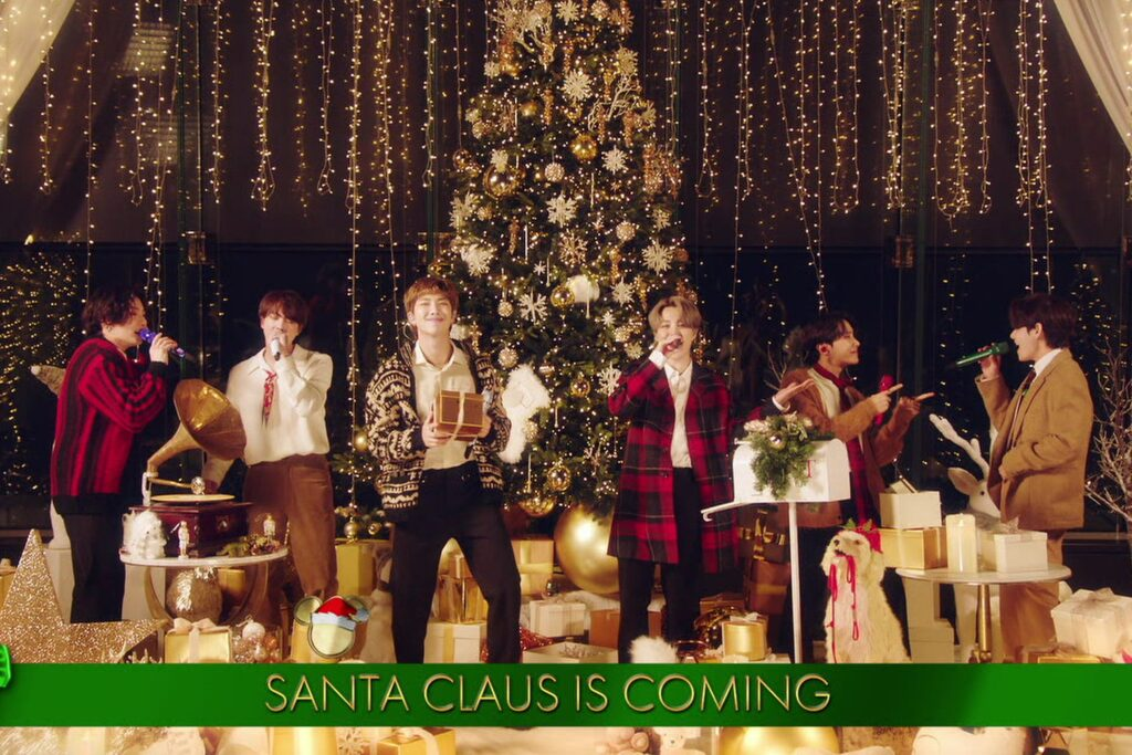 BTS performing in the Disney Holiday Singalong