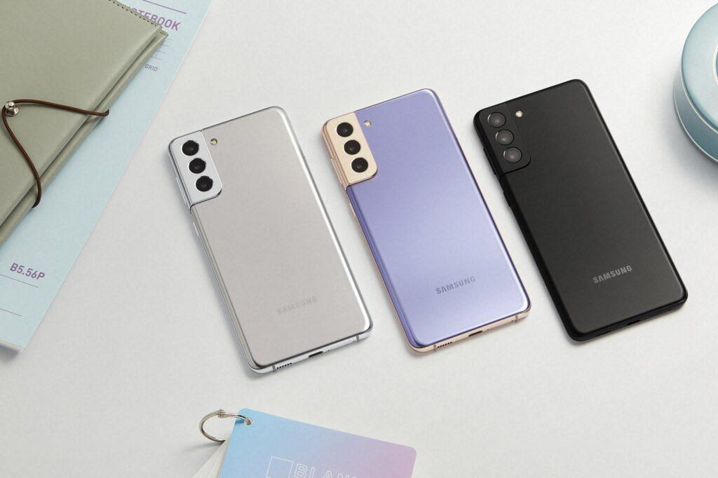 Samsung Galaxy S21 Plus in Phantom White, Phantom Violet and Phantom Black