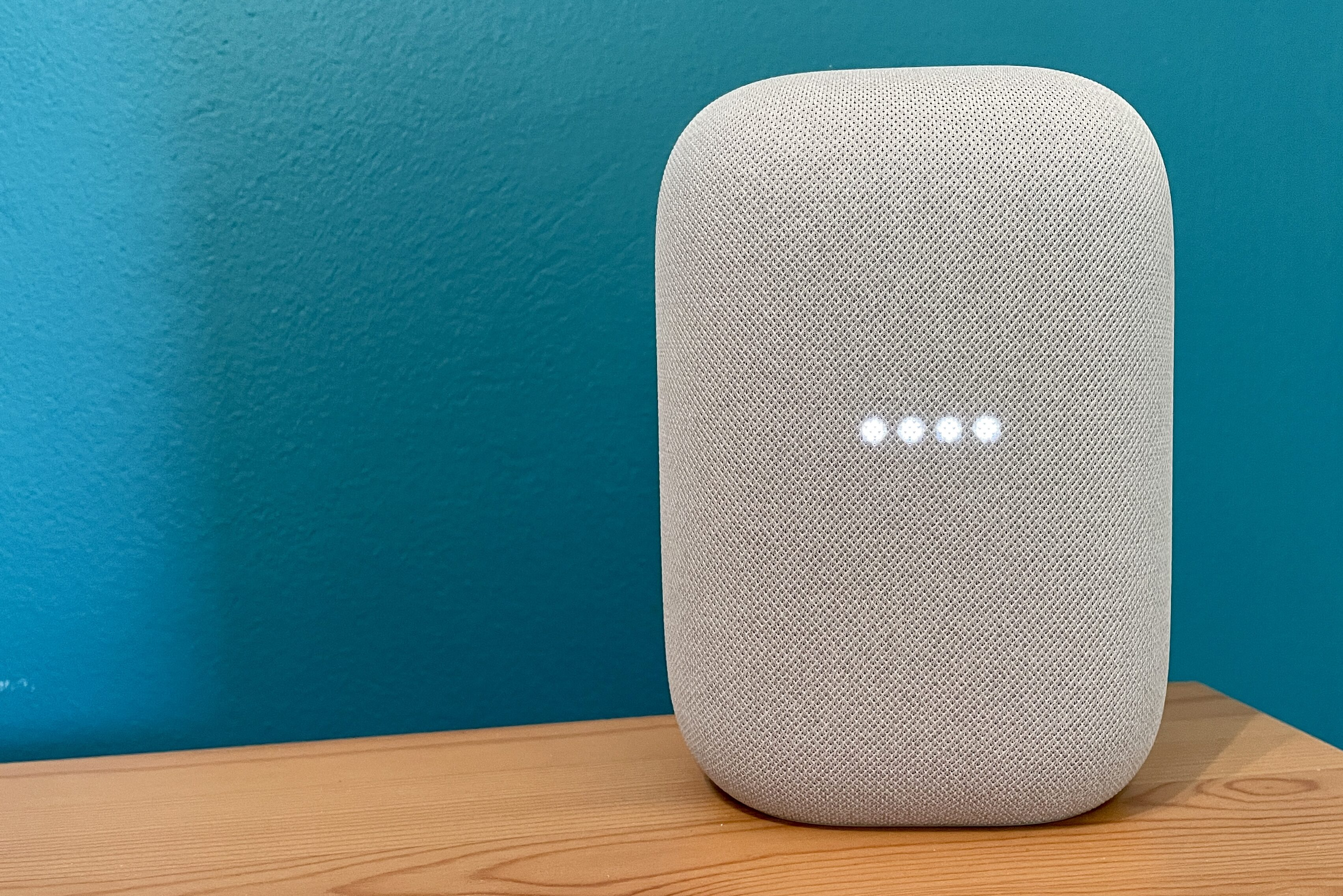 Chalk Google Home Audio against a blue background