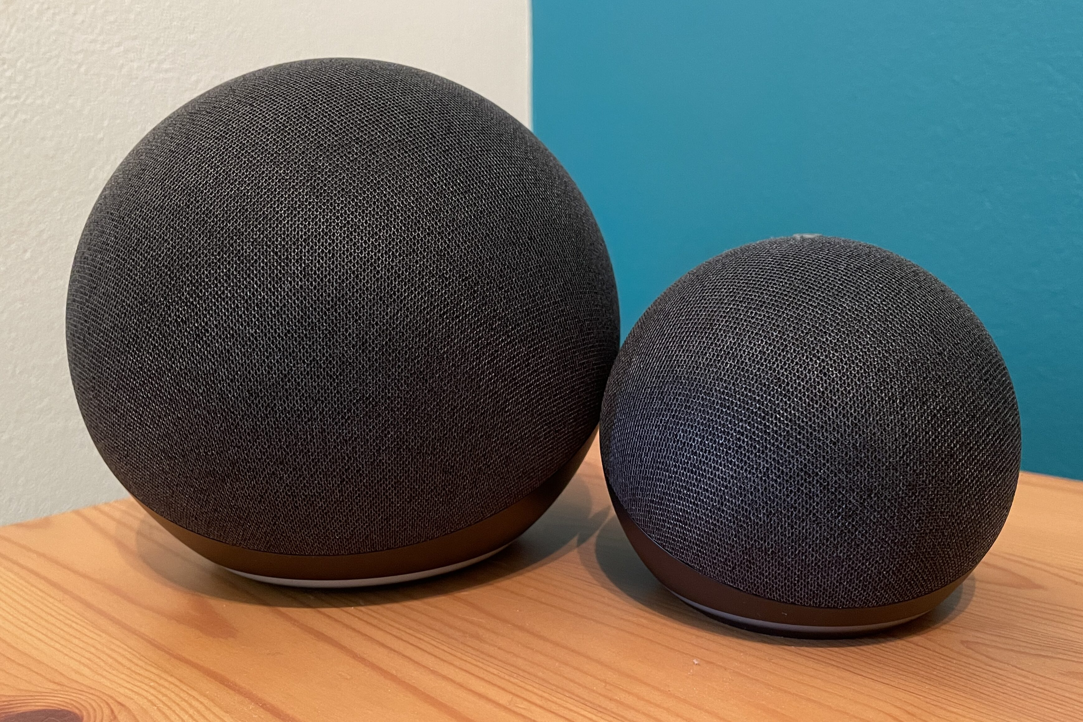Charcoal Amazon Echo and Echo dot side by side