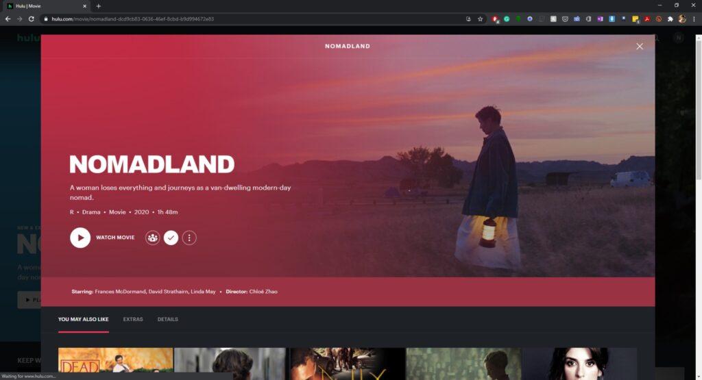 Nomadland splash screen on Hulu
