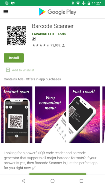 QR code scanner app on the Google Play Store