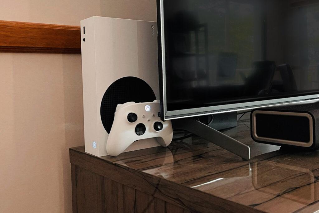 Xbox Series S behind TV